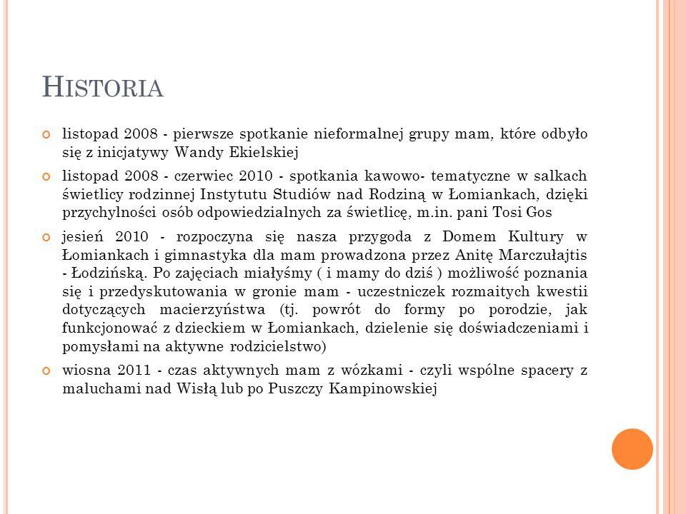 H ISTORIA listopad 2008 - pierwsze spotkanie nieformalnej grupy mam, które odbyło się z inicjatywy Wandy Ekielskiej listopad 2008 - czerwiec 2010 - sp