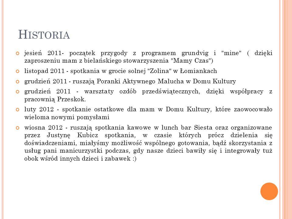 H ISTORIA maj 2012 - promocja Klubu Mam (stoisko, ulotki, rozmowy z napotkanymi mamami) podczas Rodzinnego Festynu Parafialnego maj/ czerwiec 2012 - czas wspólnych wypraw rowerowych z dziećmi w fotelikach czerwiec 2012 - wspólne odwiedzenie wystawy góralskiego malarstwa na szkle oraz fotografii zjawiskowych widoków Tatr (wyjście z dziećmi) lipiec 2012 - wakacyjny kurs rysunku dla mam z dziećmi prowadzony przez Justynę Kubicz