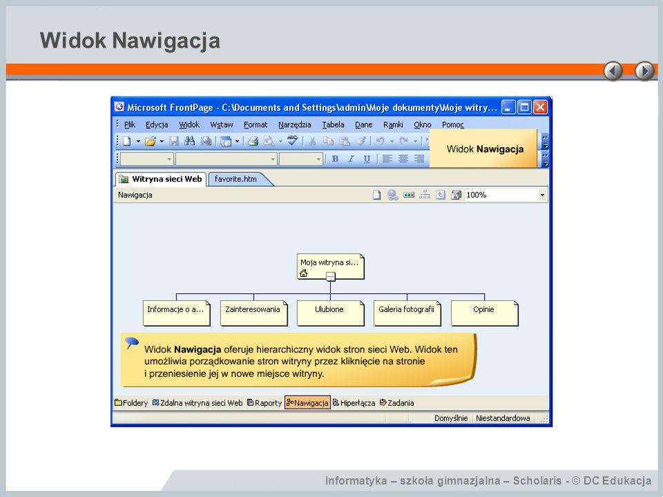 Informatyka – szkoła gimnazjalna – Scholaris - © DC Edukacja Widok Nawigacja