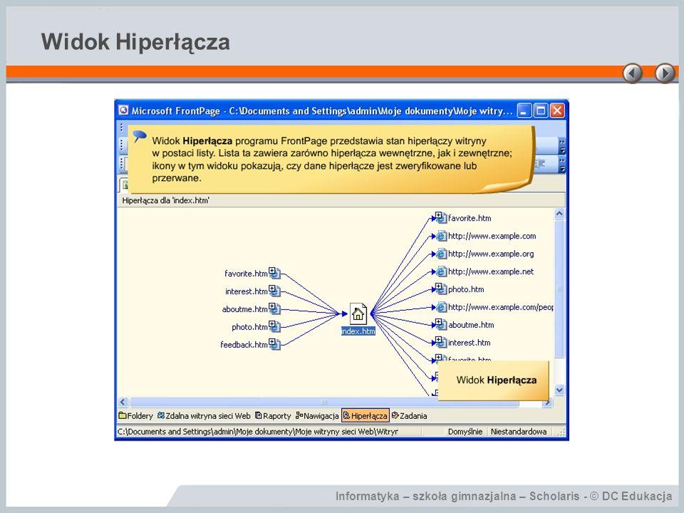 Informatyka – szkoła gimnazjalna – Scholaris - © DC Edukacja Widok Hiperłącza