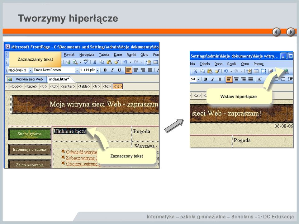 Informatyka – szkoła gimnazjalna – Scholaris - © DC Edukacja Tworzymy hiperłącze