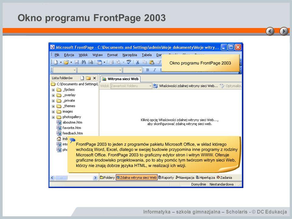 Informatyka – szkoła gimnazjalna – Scholaris - © DC Edukacja Okno programu FrontPage 2003