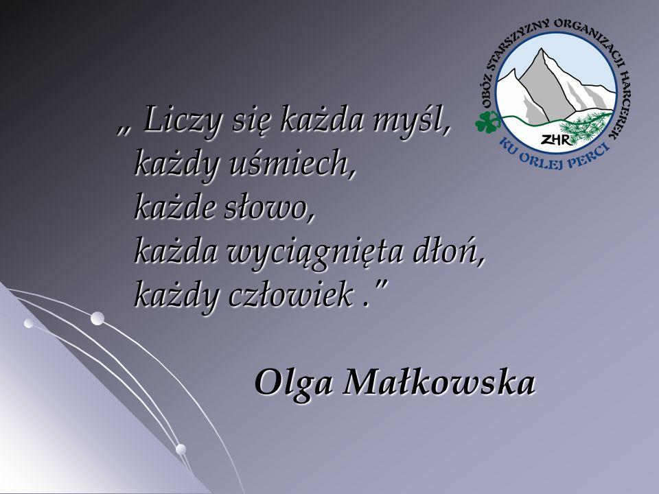 """"""" Liczy się każda myśl, każdy uśmiech, każde słowo, każda wyciągnięta dłoń, każdy człowiek. Olga Małkowska"""