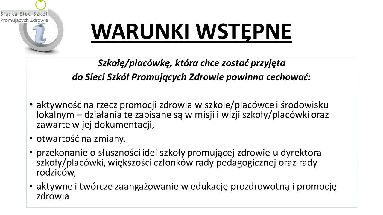 WARUNKI WSTĘPNE Szkołę/placówkę, która chce zostać przyjęta do Sieci Szkół Promujących Zdrowie powinna cechować: aktywność na rzecz promocji zdrowia w