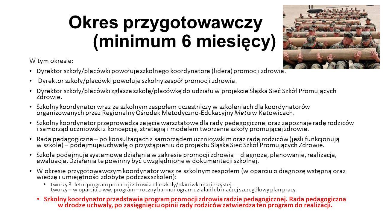 Okres przygotowawczy (minimum 6 miesięcy) W tym okresie: Dyrektor szkoły/placówki powołuje szkolnego koordynatora (lidera) promocji zdrowia. Dyrektor