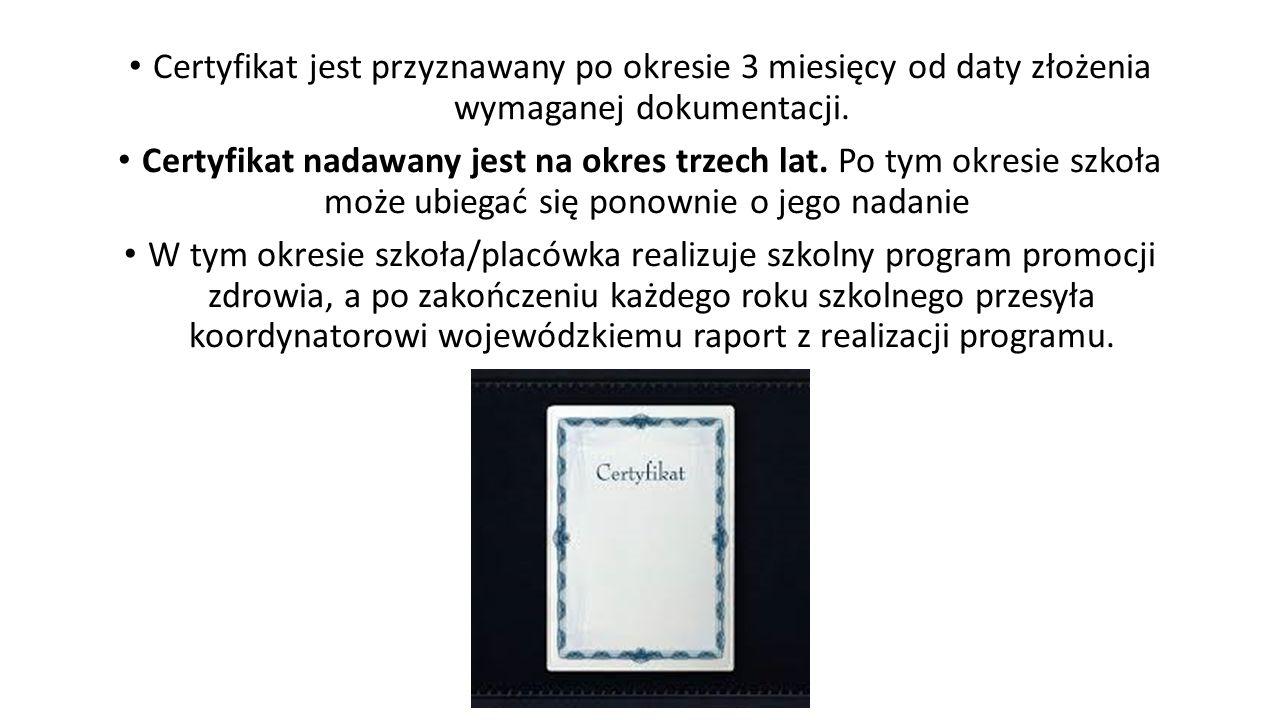 Certyfikat jest przyznawany po okresie 3 miesięcy od daty złożenia wymaganej dokumentacji. Certyfikat nadawany jest na okres trzech lat. Po tym okresi