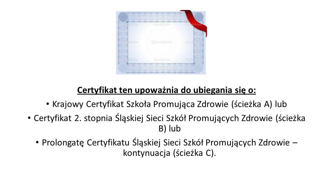 Certyfikat ten upoważnia do ubiegania się o: Krajowy Certyfikat Szkoła Promująca Zdrowie (ścieżka A) lub Certyfikat 2. stopnia Śląskiej Sieci Szkół Pr