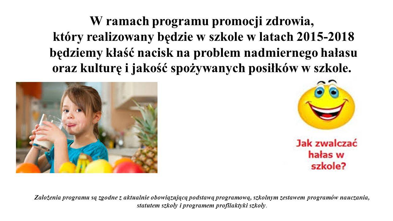 W ramach programu promocji zdrowia, który realizowany będzie w szkole w latach 2015-2018 będziemy kłaść nacisk na problem nadmiernego hałasu oraz kult