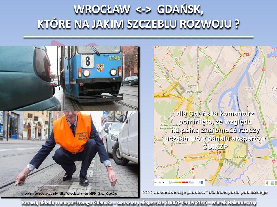 _______________________________________________________________________________________ Rozwój układu transportowego Gdańska – warsztaty eksperckie SUiKZP 04.09.2015 – Marek Nakonieczny Rozwój układu transportowego Gdańska – warsztaty eksperckie SUiKZP 04.09.2015 – Marek Nakonieczny_______________________________________________________________________________________ WROCŁAW GDAŃSK, KTÓRE NA JAKIM SZCZEBLU ROZWOJU .