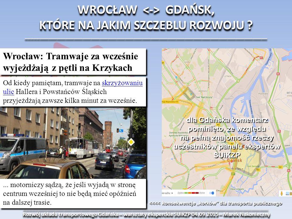 ______________________________________________________________________________________ Rozwój układu transportowego Gdańska – warsztaty eksperckie SUiKZP 04.09.2015 – Marek Nakonieczny Rozwój układu transportowego Gdańska – warsztaty eksperckie SUiKZP 04.09.2015 – Marek Nakonieczny______________________________________________________________________________________ WROCŁAW GDAŃSK, KTÓRE NA JAKIM SZCZEBLU ROZWOJU .