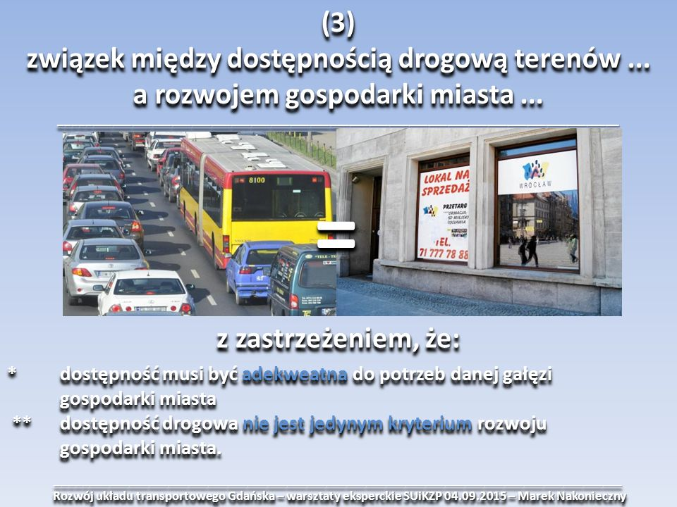 ______________________________________________________________________________________ Rozwój układu transportowego Gdańska – warsztaty eksperckie SUiKZP 04.09.2015 – Marek Nakonieczny Rozwój układu transportowego Gdańska – warsztaty eksperckie SUiKZP 04.09.2015 – Marek Nakonieczny______________________________________________________________________________________ (3) związek między dostępnością drogową terenów...