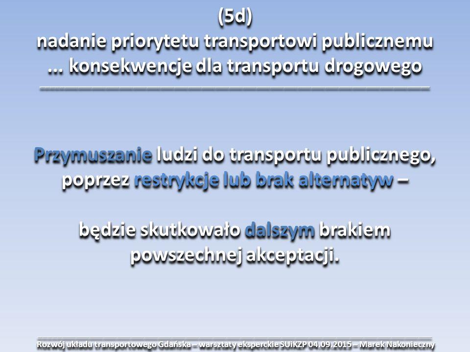 ______________________________________________________________________________________ Rozwój układu transportowego Gdańska – warsztaty eksperckie SUiKZP 04.09.2015 – Marek Nakonieczny Rozwój układu transportowego Gdańska – warsztaty eksperckie SUiKZP 04.09.2015 – Marek Nakonieczny______________________________________________________________________________________ (5d) nadanie priorytetu transportowi publicznemu...