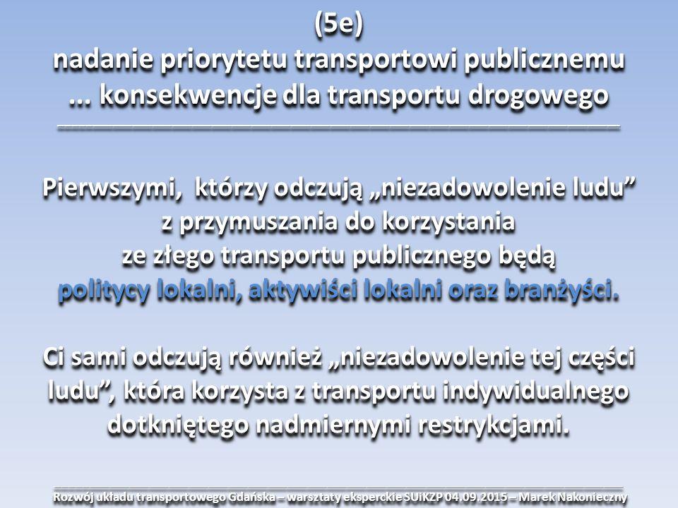______________________________________________________________________________________ Rozwój układu transportowego Gdańska – warsztaty eksperckie SUiKZP 04.09.2015 – Marek Nakonieczny Rozwój układu transportowego Gdańska – warsztaty eksperckie SUiKZP 04.09.2015 – Marek Nakonieczny______________________________________________________________________________________ (5e) nadanie priorytetu transportowi publicznemu...