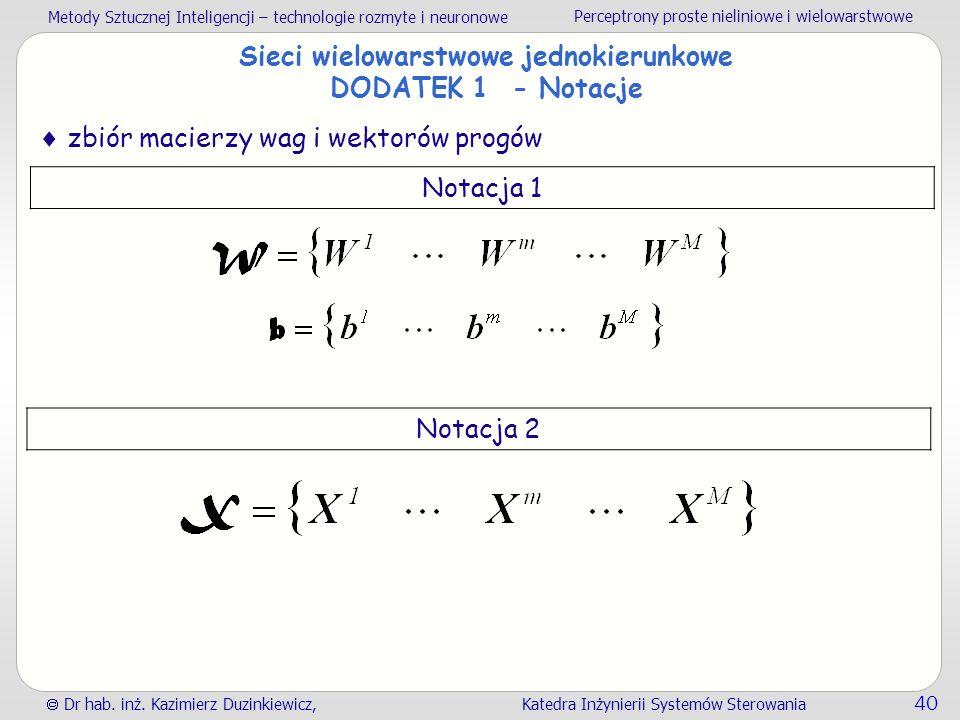 Metody Sztucznej Inteligencji – technologie rozmyte i neuronowe Perceptrony proste nieliniowe i wielowarstwowe  Dr hab. inż. Kazimierz Duzinkiewicz,