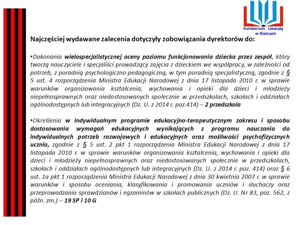 Kuratorium Oświaty w Kielcach Najczęściej wydawane zalecenia dotyczyły zobowiązania dyrektorów do: Dokonania wielospecjalistycznej oceny poziomu funkcjonowania dziecka przez zespół, który tworzą nauczyciele i specjaliści prowadzący zajęcia z dzieckiem we współpracy, w zależności od potrzeb, z poradnią psychologiczno-pedagogiczną, w tym poradnią specjalistyczną, zgodnie z § 5 ust.