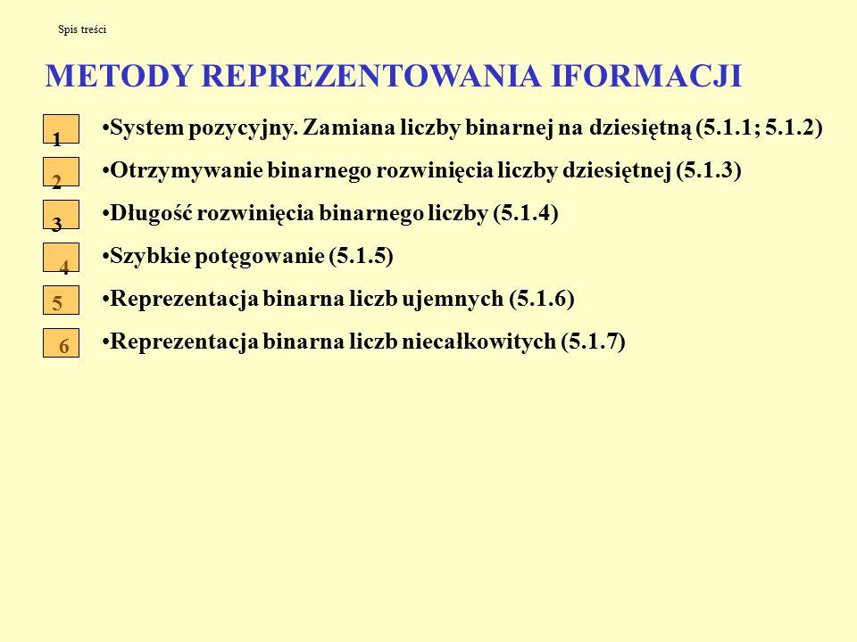 METODY REPREZENTOWANIA IFORMACJI System pozycyjny.