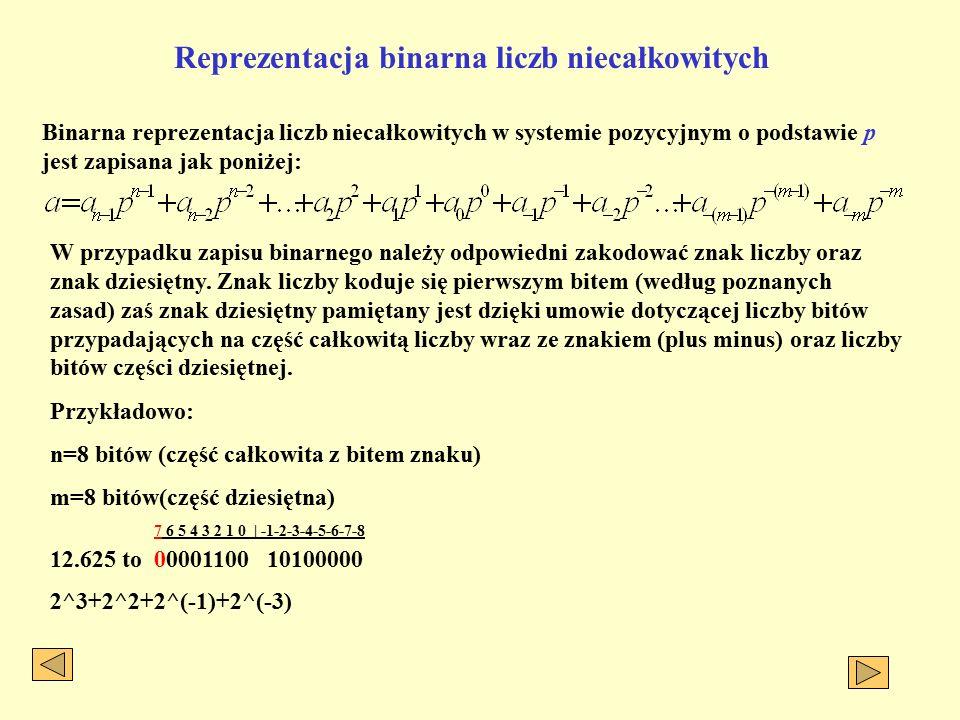 Reprezentacja binarna liczb niecałkowitych Binarna reprezentacja liczb niecałkowitych w systemie pozycyjnym o podstawie p jest zapisana jak poniżej: W przypadku zapisu binarnego należy odpowiedni zakodować znak liczby oraz znak dziesiętny.