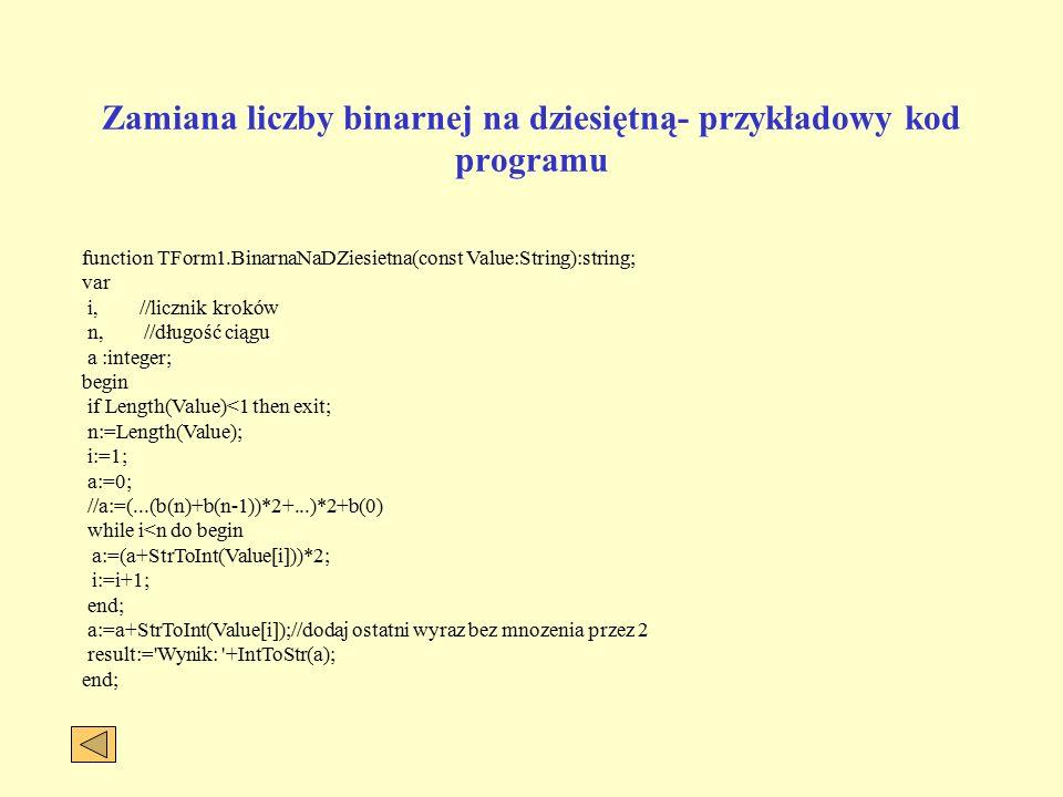 Zamiana liczby dziesiętnej na binarną ALGORYTM: Zamiana dziesiętnej liczby naturalnej na postać binarną.