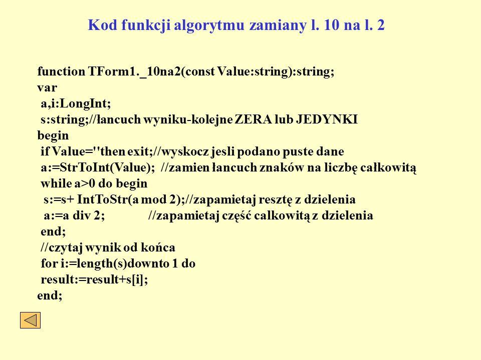 Kod funkcji algorytmu zamiany l.10 na l.