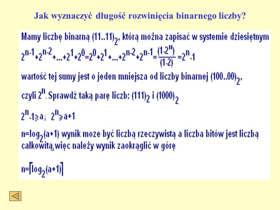 Jak wyznaczyć długość rozwinięcia binarnego liczby?