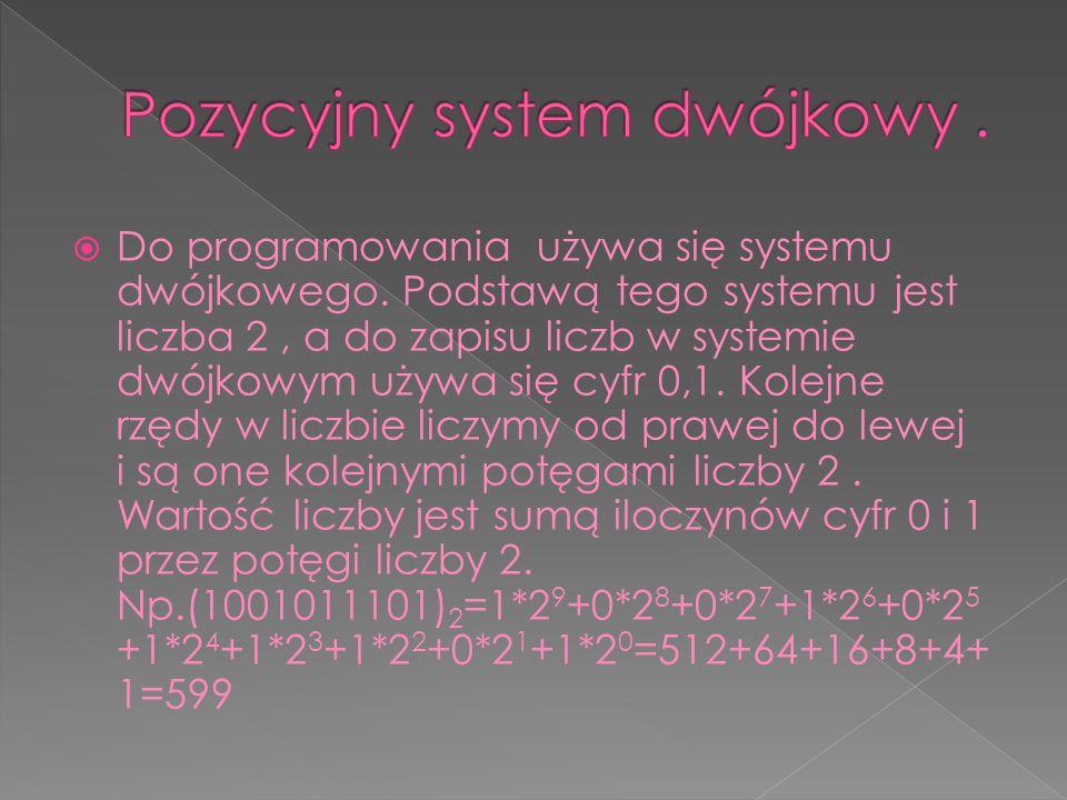  Do programowania używa się systemu dwójkowego.