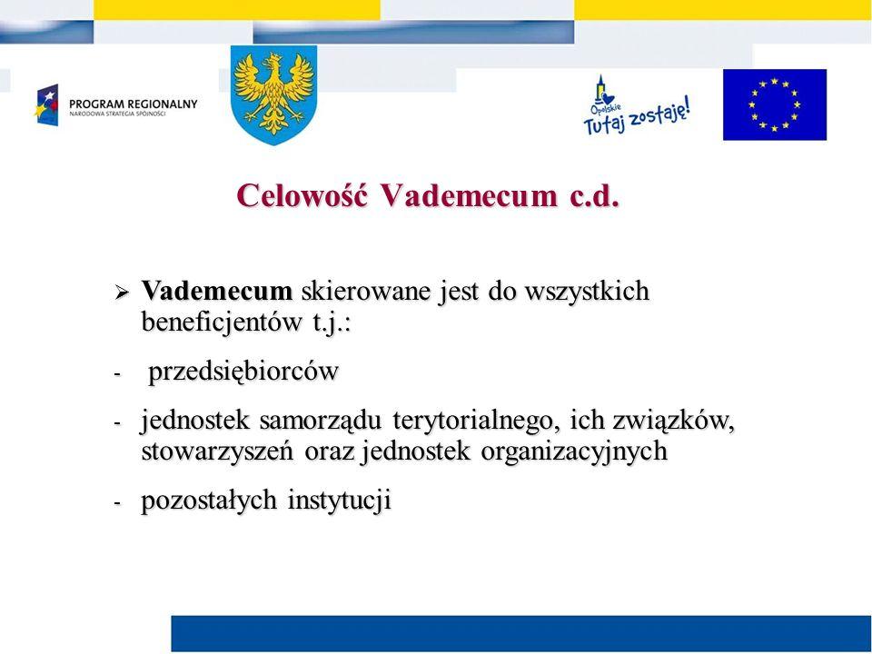  Vademecum skierowane jest do wszystkich beneficjentów t.j.: - przedsiębiorców - jednostek samorządu terytorialnego, ich związków, stowarzyszeń oraz jednostek organizacyjnych - pozostałych instytucji Celowość Vademecum c.d.