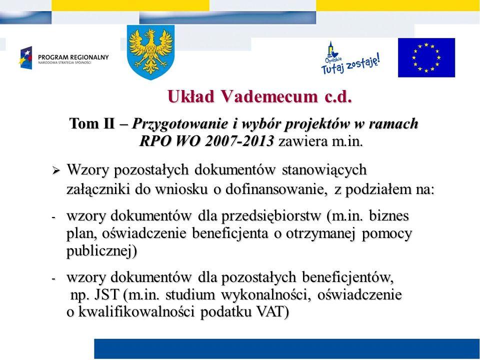 Tom II – Przygotowanie i wybór projektów w ramach RPO WO 2007-2013 zawiera m.in.