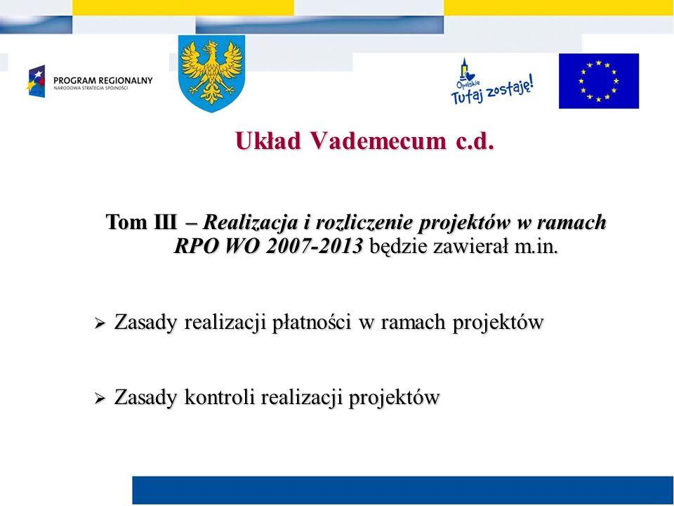 Tom III – Realizacja i rozliczenie projektów w ramach RPO WO 2007-2013 będzie zawierał m.in.