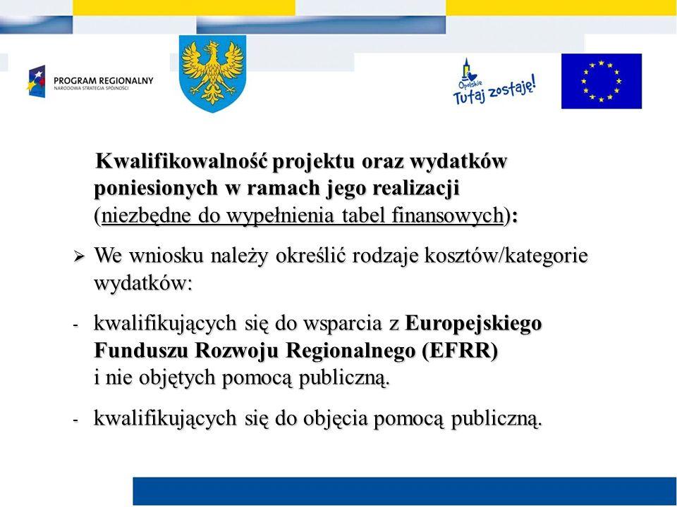Kwalifikowalność projektu oraz wydatków poniesionych w ramach jego realizacji (niezbędne do wypełnienia tabel finansowych): Kwalifikowalność projektu oraz wydatków poniesionych w ramach jego realizacji (niezbędne do wypełnienia tabel finansowych):  We wniosku należy określić rodzaje kosztów/kategorie wydatków: - kwalifikujących się do wsparcia z Europejskiego Funduszu Rozwoju Regionalnego (EFRR) i nie objętych pomocą publiczną.