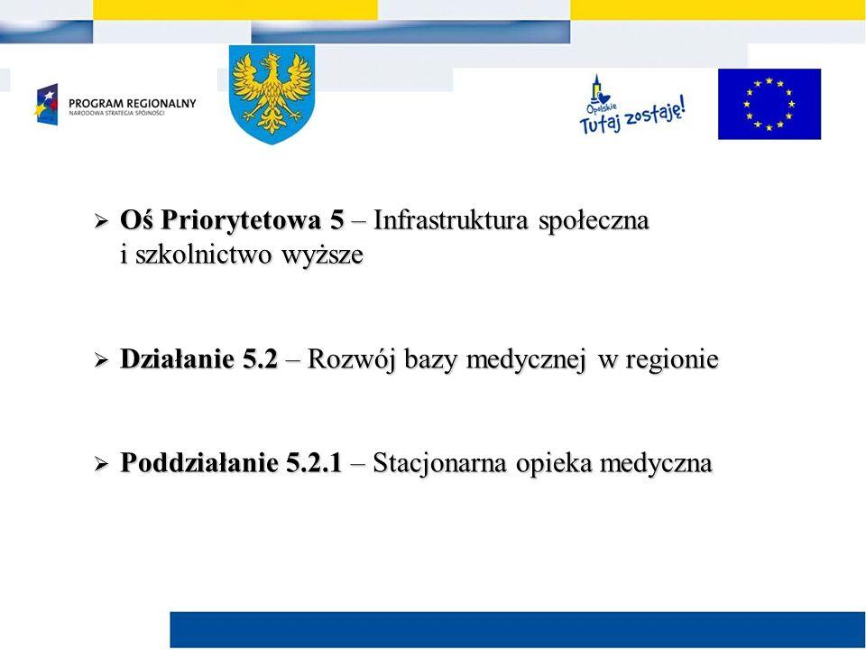  Kryteria merytoryczne I stopnia dla poddziałania 5.2.1 Stacjonarna opieka medyczna – kryteria dodatkowe dla projektów przewidujących prace inwestycyjne realizowane przez jednostki wojewódzkie: Nazwa kryterium Charakter wyboru Uzasadnienie Planowane w projekcie działania nie prowadzą do rozbudowy sektora ochrony zdrowia BezwzględnyZgodnie z treścią Szczegółowego opisu osi priorytetowych RPO WO 2007-2013