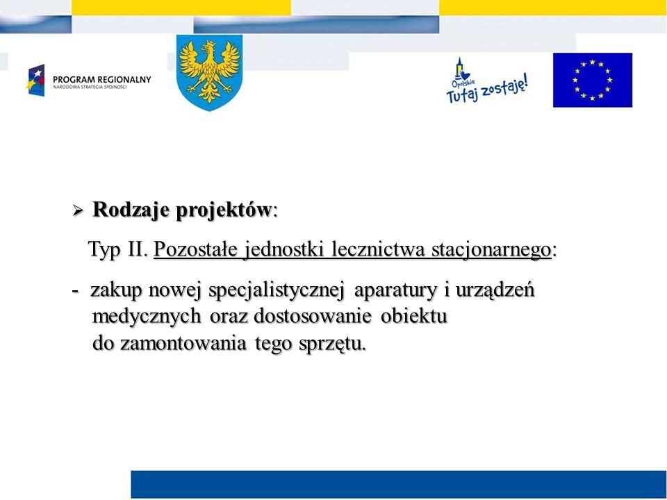  Rodzaje projektów: Typ II. Pozostałe jednostki lecznictwa stacjonarnego: Typ II.