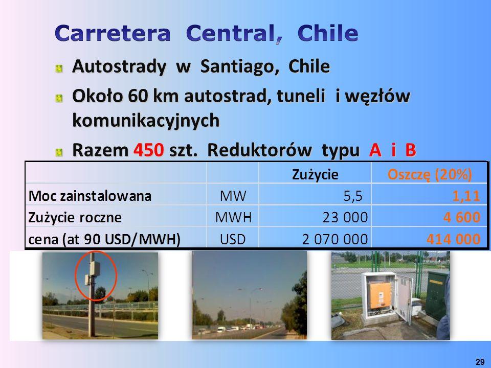 29 Autostrady w Santiago, Chile Około 60 km autostrad, tuneli i węzłów komunikacyjnych Razem 450 szt. Reduktorów typu A i B