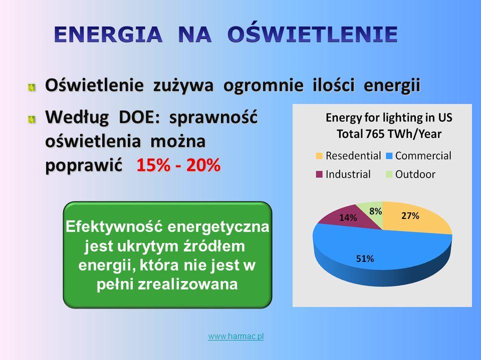 Efektywność energetyczna jest ukrytym źródłem energii, która nie jest w pełni zrealizowana Oświetlenie zużywa ogromnie ilości energii Według DOE: spra