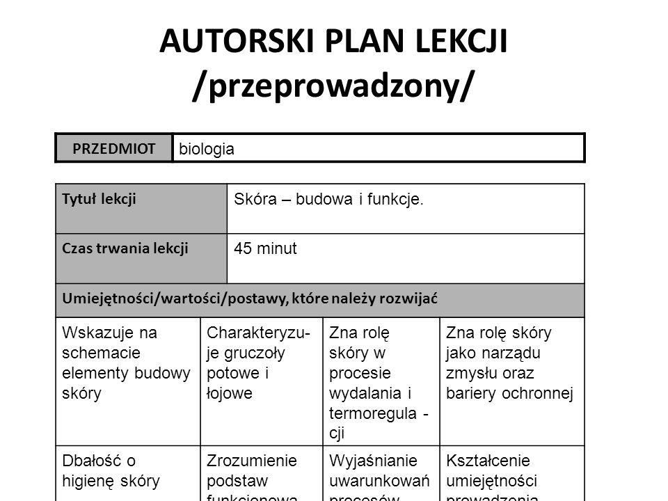 AUTORSKI PLAN LEKCJI /przeprowadzony/ PRZEDMIOT biologia Tytuł lekcji Skóra – budowa i funkcje.