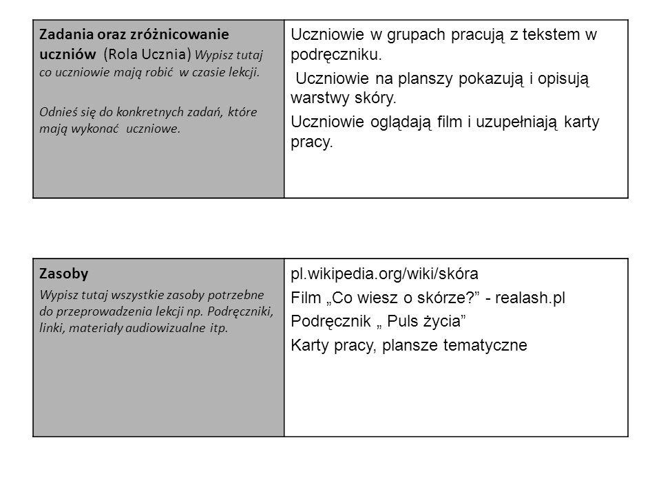 Zadania oraz zróżnicowanie uczniów (Rola Ucznia) Wypisz tutaj co uczniowie mają robić w czasie lekcji. Odnieś się do konkretnych zadań, które mają wyk
