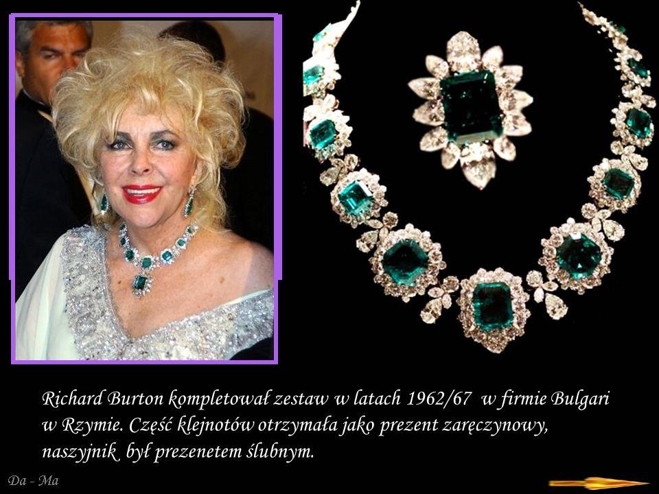 Da - Ma Elizabeth Taylor Diamond, 33.19 ct czystości D, wcześniej znany jako Krupp diamond, zakupiony przez Richarda Burtona w maju 1968 r.