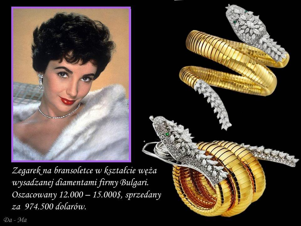 Da - Ma Triphanes - naszyjnik, kolczyki, zawieszki z kulek kunzytu, ametystów i diamentów podkreślające kolor jej oczu, wykonane przez Van Cleef & Arpels w 1973 r.
