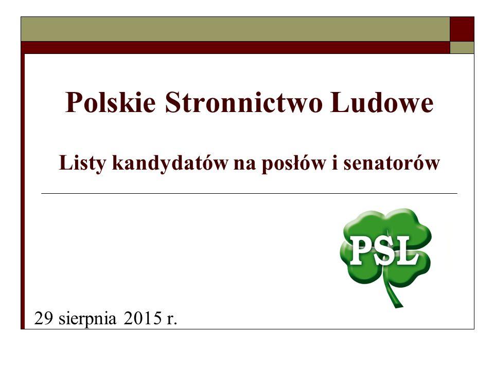 Polskie Stronnictwo Ludowe Listy kandydatów na posłów i senatorów 29 sierpnia 2015 r.