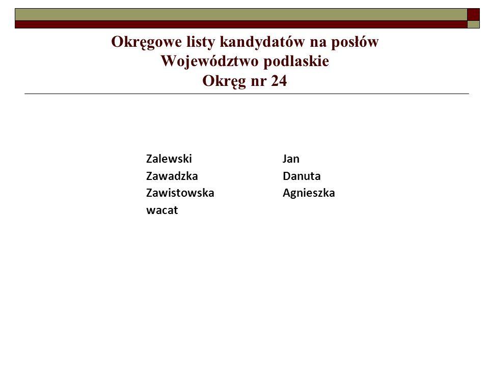 ZalewskiJan ZawadzkaDanuta ZawistowskaAgnieszka wacat Okręgowe listy kandydatów na posłów Województwo podlaskie Okręg nr 24