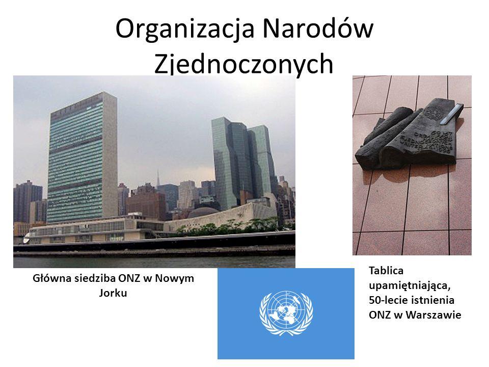 Organizacja Narodów Zjednoczonych Główna siedziba ONZ w Nowym Jorku Tablica upamiętniająca, 50-lecie istnienia ONZ w Warszawie