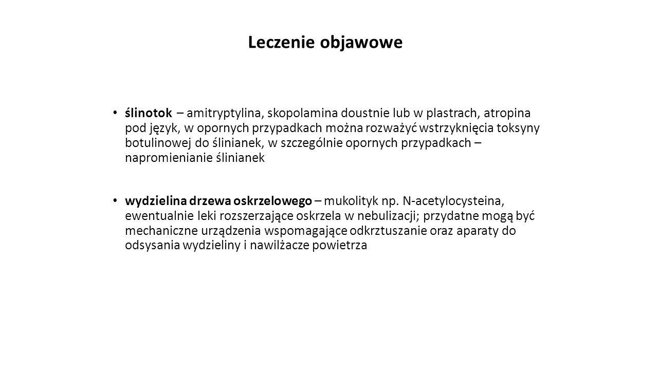 Leczenie objawowe ślinotok – amitryptylina, skopolamina doustnie lub w plastrach, atropina pod język, w opornych przypadkach można rozważyć wstrzyknię