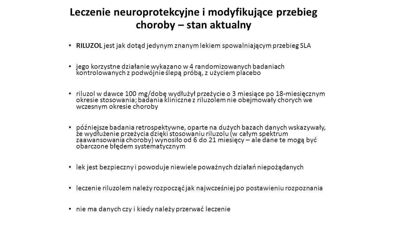 Leczenie neuroprotekcyjne i modyfikujące przebieg choroby – stan aktualny RILUZOL jest jak dotąd jedynym znanym lekiem spowalniającym przebieg SLA jeg