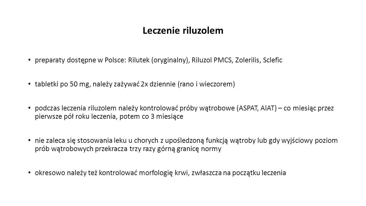 Leczenie riluzolem preparaty dostępne w Polsce: Rilutek (oryginalny), Riluzol PMCS, Zolerilis, Sclefic tabletki po 50 mg, należy zażywać 2x dziennie (
