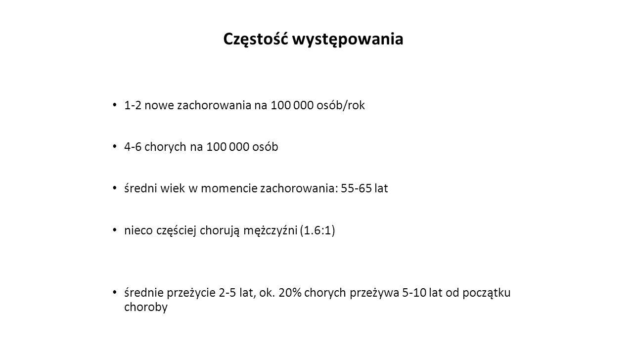 Częstość występowania 1-2 nowe zachorowania na 100 000 osób/rok 4-6 chorych na 100 000 osób średni wiek w momencie zachorowania: 55-65 lat nieco częśc