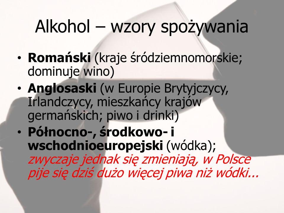Alkohol – wzory spożywania Romański (kraje śródziemnomorskie; dominuje wino) Anglosaski (w Europie Brytyjczycy, Irlandczycy, mieszkańcy krajów germańskich; piwo i drinki) Północno-, środkowo- i wschodnioeuropejski (wódka); zwyczaje jednak się zmieniają, w Polsce pije się dziś dużo więcej piwa niż wódki...
