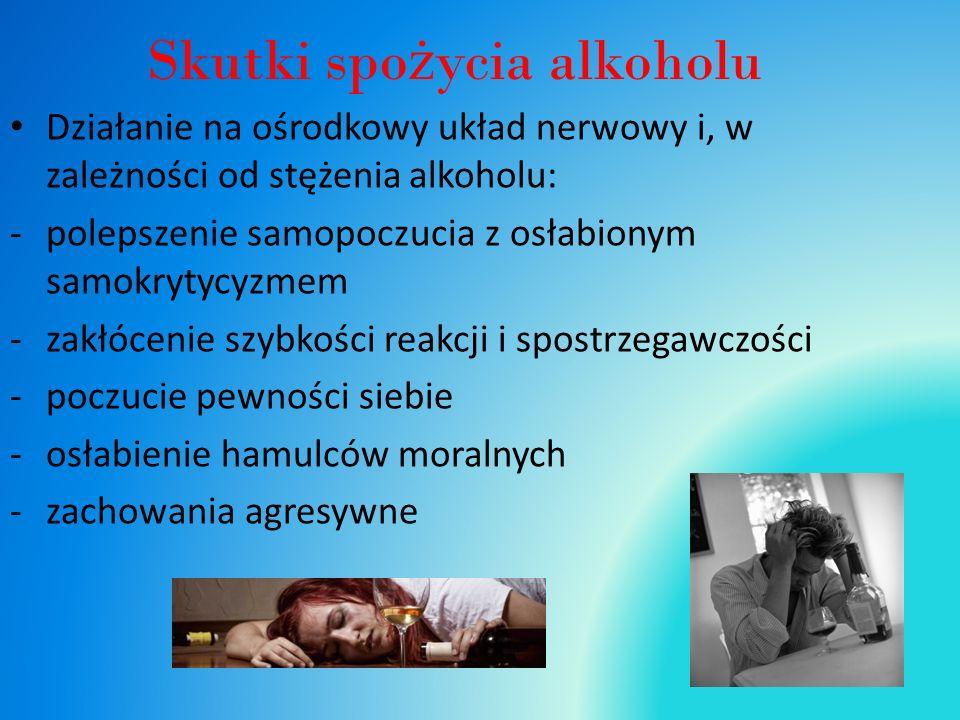 Skutki spo ż ycia alkoholu Działanie na ośrodkowy układ nerwowy i, w zależności od stężenia alkoholu: -polepszenie samopoczucia z osłabionym samokrytycyzmem -zakłócenie szybkości reakcji i spostrzegawczości -poczucie pewności siebie -osłabienie hamulców moralnych -zachowania agresywne