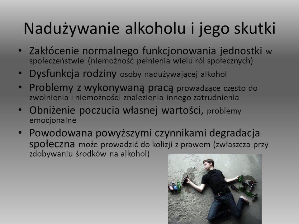 Nadużywanie alkoholu i jego skutki Zakłócenie normalnego funkcjonowania jednostki w społeczeństwie (niemożność pełnienia wielu ról społecznych) Dysfunkcja rodziny osoby nadużywającej alkohol Problemy z wykonywaną pracą prowadzące często do zwolnienia i niemożności znalezienia innego zatrudnienia Obniżenie poczucia własnej wartości, problemy emocjonalne Powodowana powyższymi czynnikami degradacja społeczna może prowadzić do kolizji z prawem (zwłaszcza przy zdobywaniu środków na alkohol)