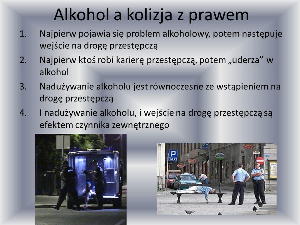 """Alkohol a kolizja z prawem 1.Najpierw pojawia się problem alkoholowy, potem następuje wejście na drogę przestępczą 2.Najpierw ktoś robi karierę przestępczą, potem """"uderza w alkohol 3.Nadużywanie alkoholu jest równoczesne ze wstąpieniem na drogę przestępczą 4.I nadużywanie alkoholu, i wejście na drogę przestępczą są efektem czynnika zewnętrznego"""