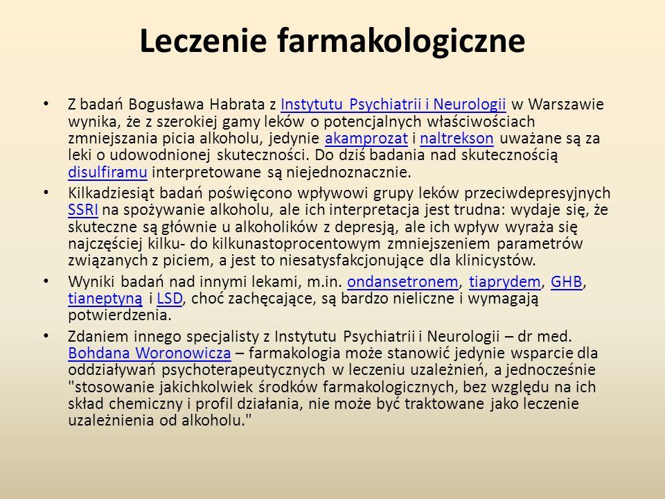 Leczenie farmakologiczne Z badań Bogusława Habrata z Instytutu Psychiatrii i Neurologii w Warszawie wynika, że z szerokiej gamy leków o potencjalnych właściwościach zmniejszania picia alkoholu, jedynie akamprozat i naltrekson uważane są za leki o udowodnionej skuteczności.