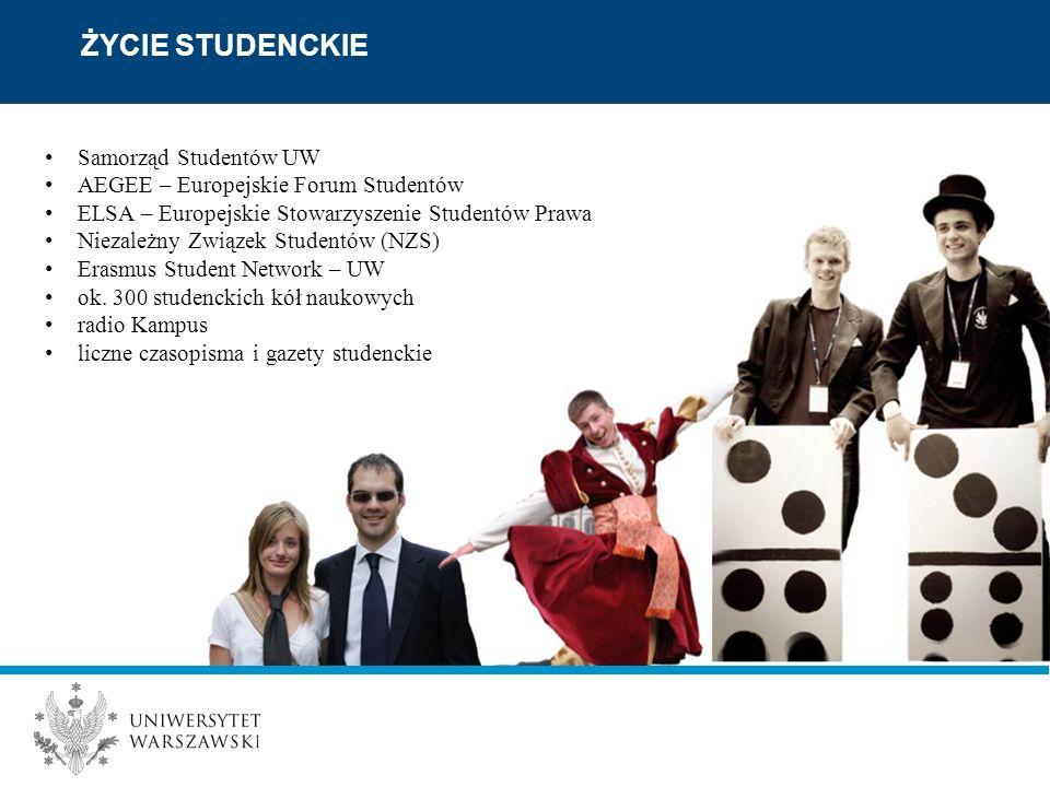 Samorząd Studentów UW AEGEE – Europejskie Forum Studentów ELSA – Europejskie Stowarzyszenie Studentów Prawa Niezależny Związek Studentów (NZS) Erasmus Student Network – UW ok.
